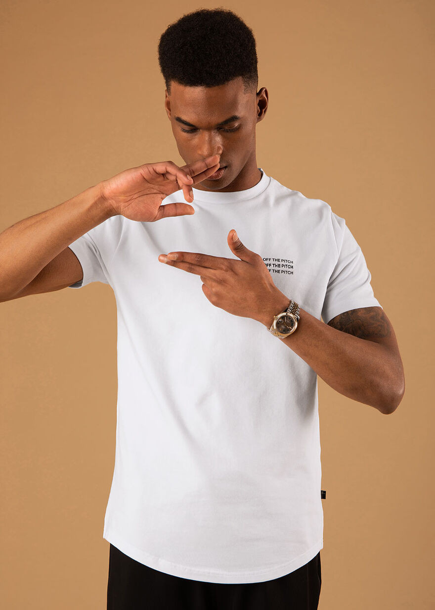 The Saturn Slimfit Tee - Black - 95% Cotton 5% Ela, White, hi-res
