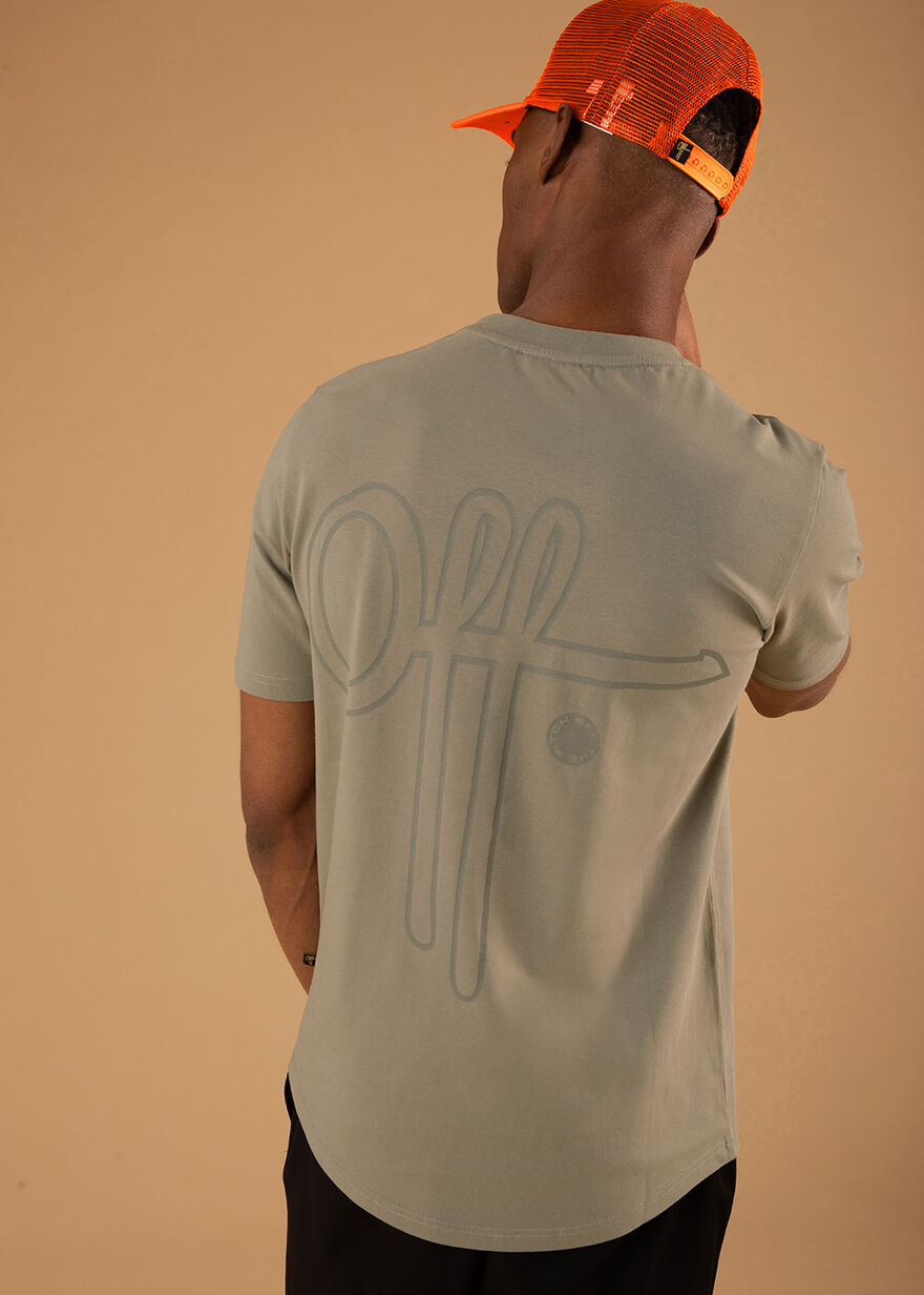 Outline Off Slimfit tee- 95% Cotton 5% Elastane- L, Green, hi-res
