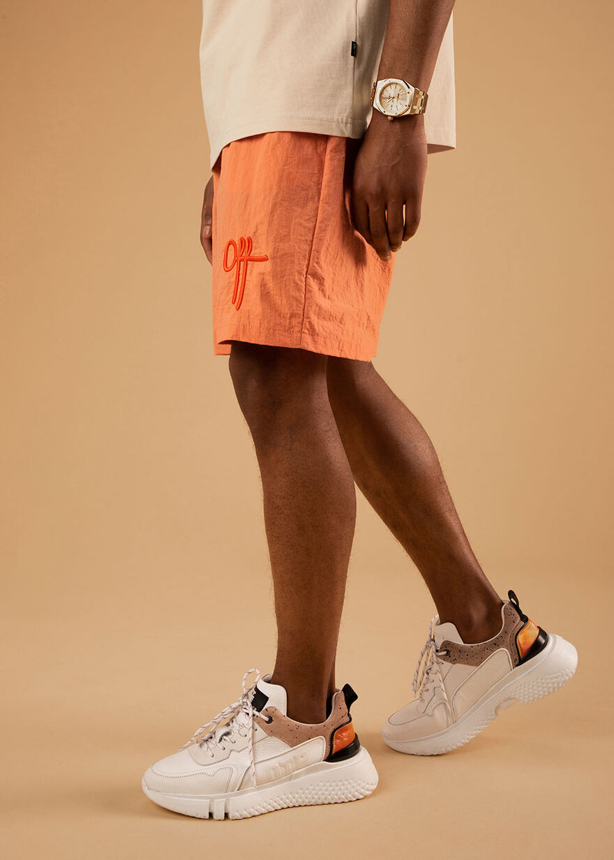 The Comet Short - Silver Grey - 100% Polyester, Orange, hi-res