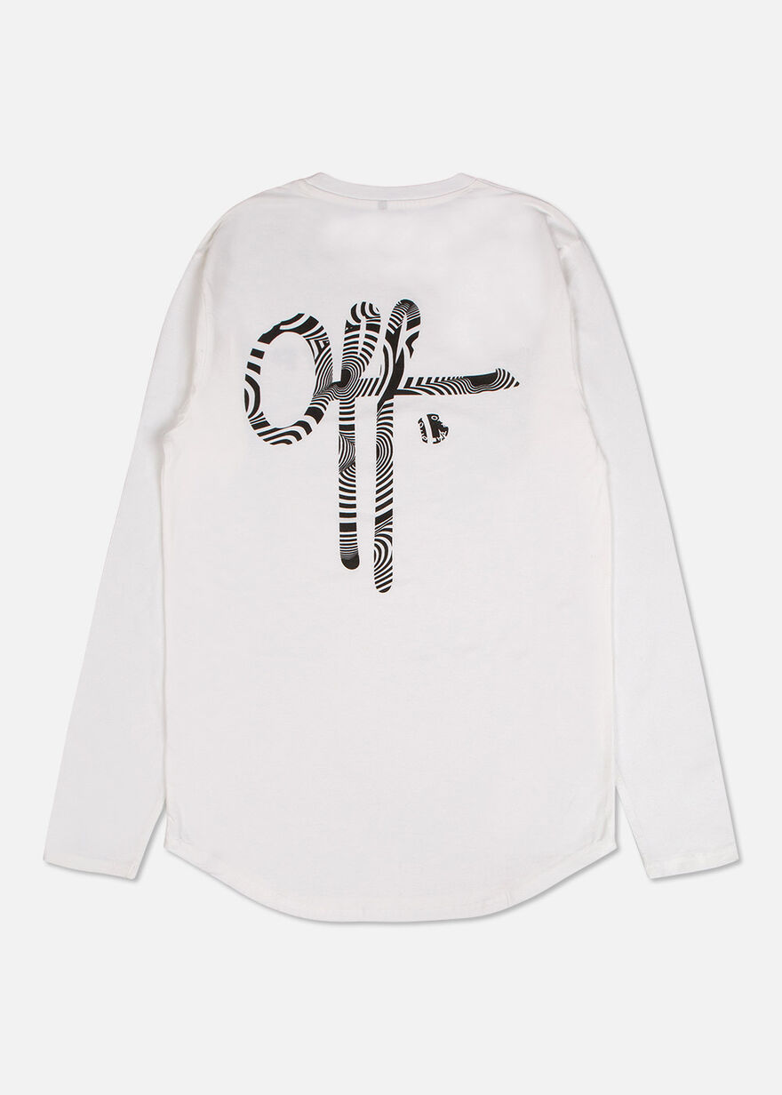Off printed tee LS, White, hi-res