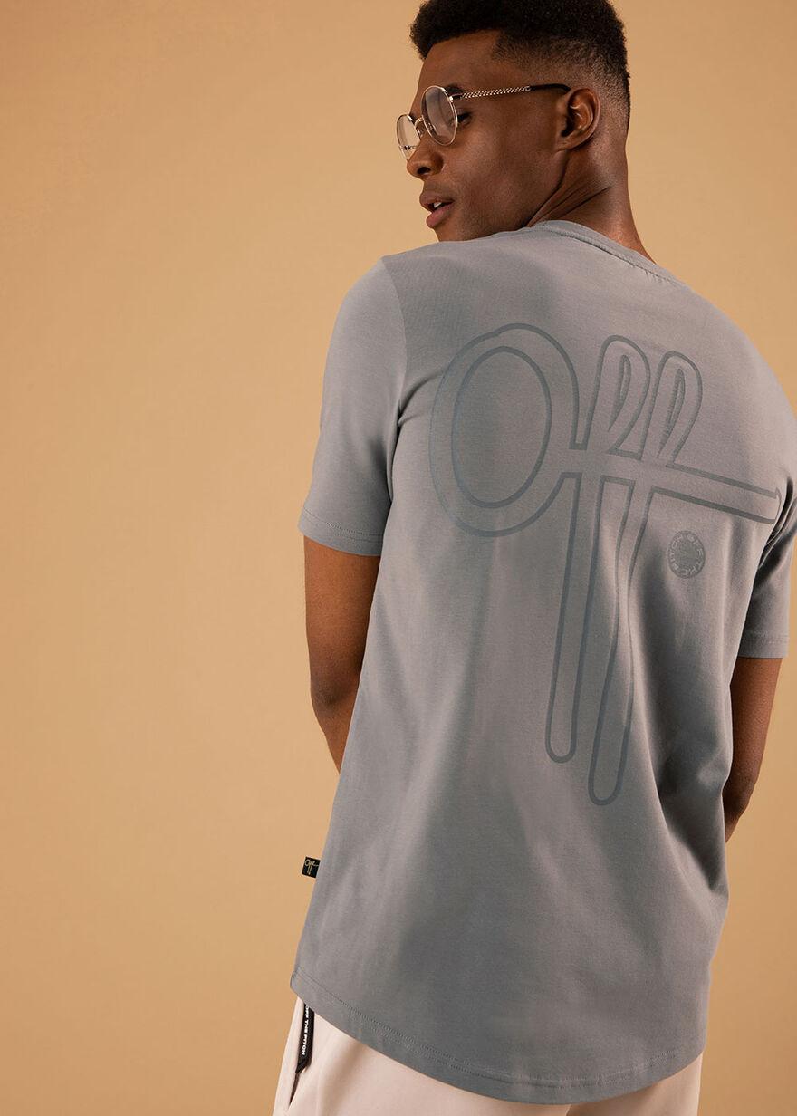 Outline Off Slimfit tee- 95% Cotton 5% Elastane- L, Grey, hi-res