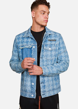 Houndstooth Denim Jacket